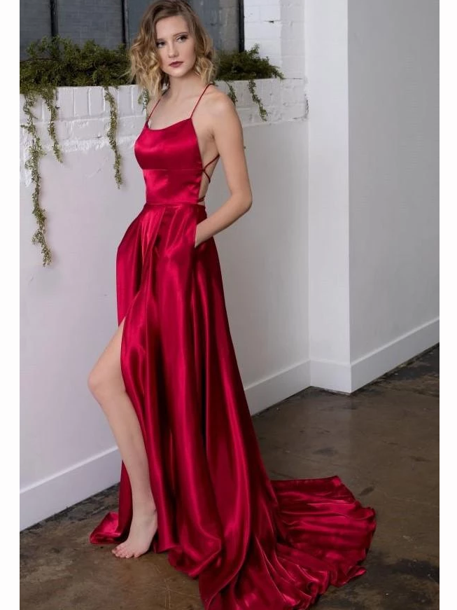 A-line Spaghetti Straps Sexy Long Prom Dresses Satin Evening Gowns WHK220