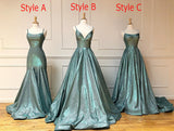 A-line Spaghetti Straps Long Prom Dresses Sparkly Evening Gowns WHK224