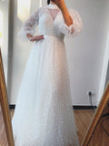 A-line High Neck Long Sleeve Long Prom Dresses Formal Gowns WHK225