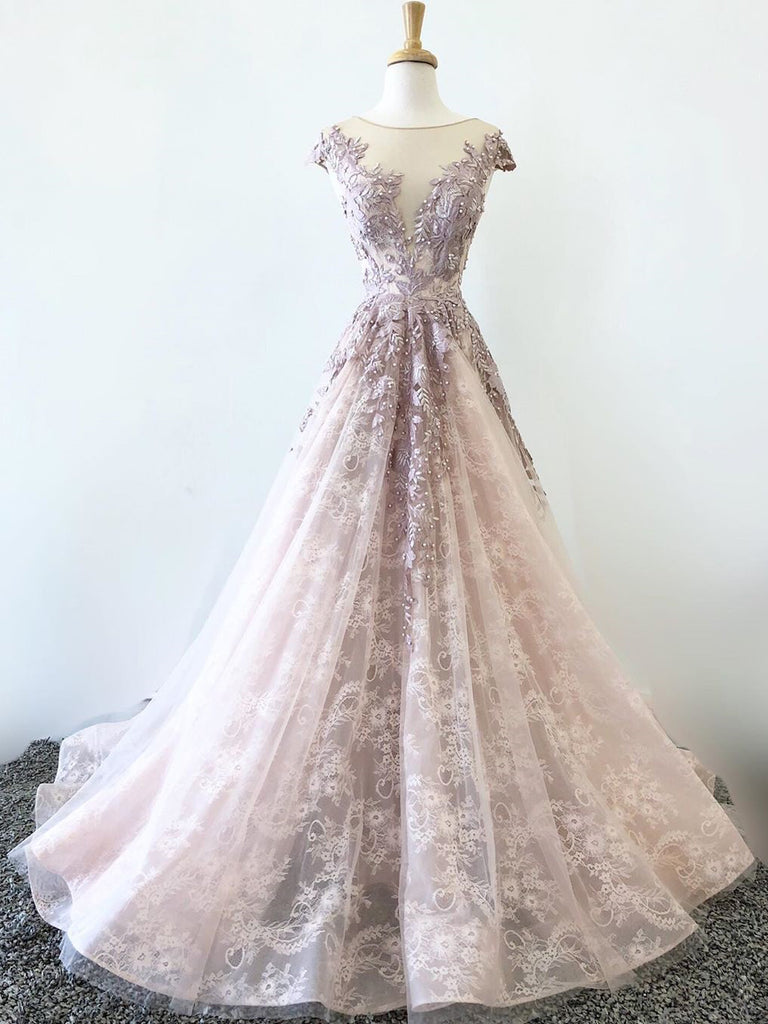 Cap Sleeve Bateau Neckline Pink Lace Beaded Long Prom Dresses Formal Gowns WHK226