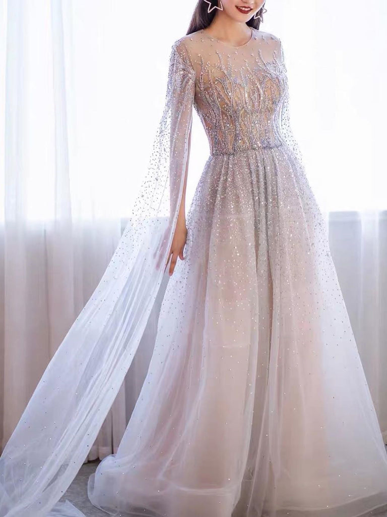 A-line Scoop Beaded Long Prom Dresses With Beaded Charming Formal Gowns WHK233