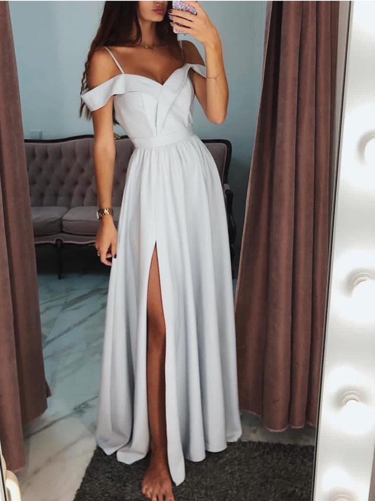 A-line Spaghetti Straps Off-the-shoulder Silt Prom Dress Evening Dress WHK234