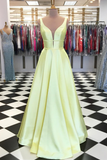 A-line Hunter Satin Long Prom Dress Pageant Evening Dress WHK236