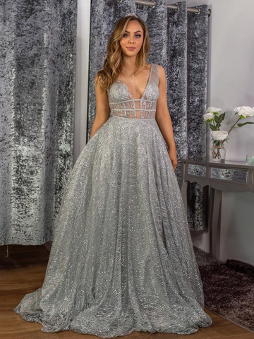 Stunning A-line V neck Sparkly Tulle Evening Dress Silver Prom Dress WHK238