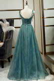 Spaghetti Straps Tulle Modest Evening Dress Long Prom Dress WHK239
