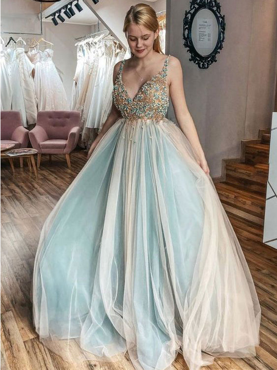 A-line V neck Beaded Tulle Evening Dress Senior Prom Dress WHK239