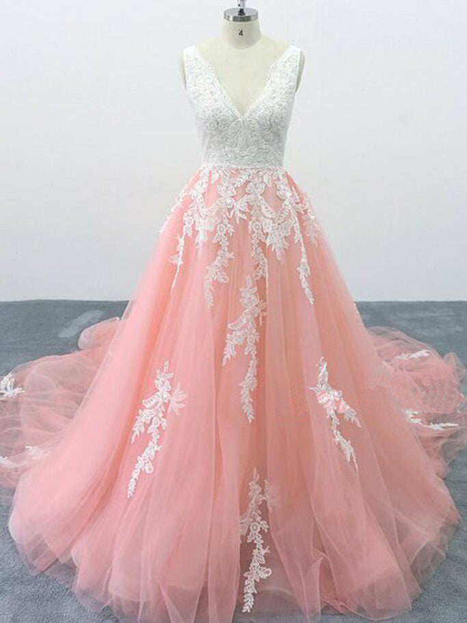 A-line V neck Peach Pink Tulle Lace Wedding Dress, Cathedral Train Formal Halter Prom Dress WHK240