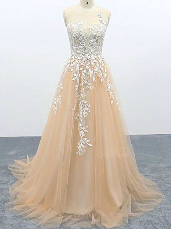 Light Champagne Tulle Lace Sweep Train Evening Dress Senior Prom Dress WHK241
