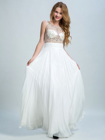White Prom Dresses, A-line Scoop Floor-length Chiffon Prom Dress/Evening Dress AMY016