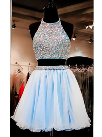 Light Sky Blue A-line Halter Short Mini Homecoming Dress Short Prom Dresses SP8040
