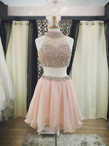 two piece prom dresses,Pearl Pink A-line High Neck Short Mini Chiffon Homecoming Dress Short Prom Dresses SP8030