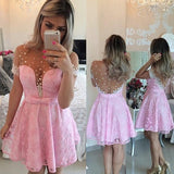 prom dresses with sleeve,Pink A-line Scoop Short Mini Tulle Homecoming Dress Short Prom Dresses SP8158