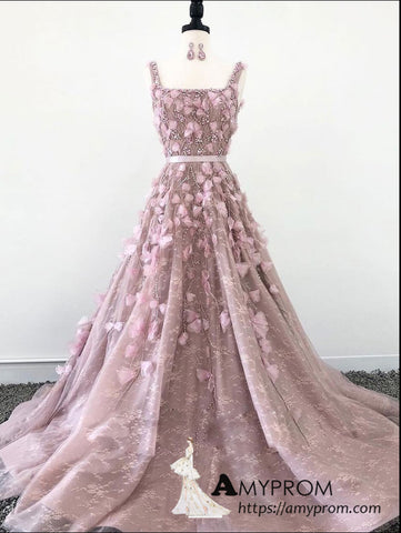 92e3636fbfc8 A-line 3D Floral Lace Long Prom Dress Hand Made Beautiful Formal Gowns  Evening Dress AMY1456 – AmyProm