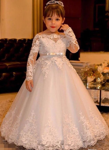 A-line Floor-length Off-the-shoulder Lace Flower Girl Dresses With Long Sleeve FL005