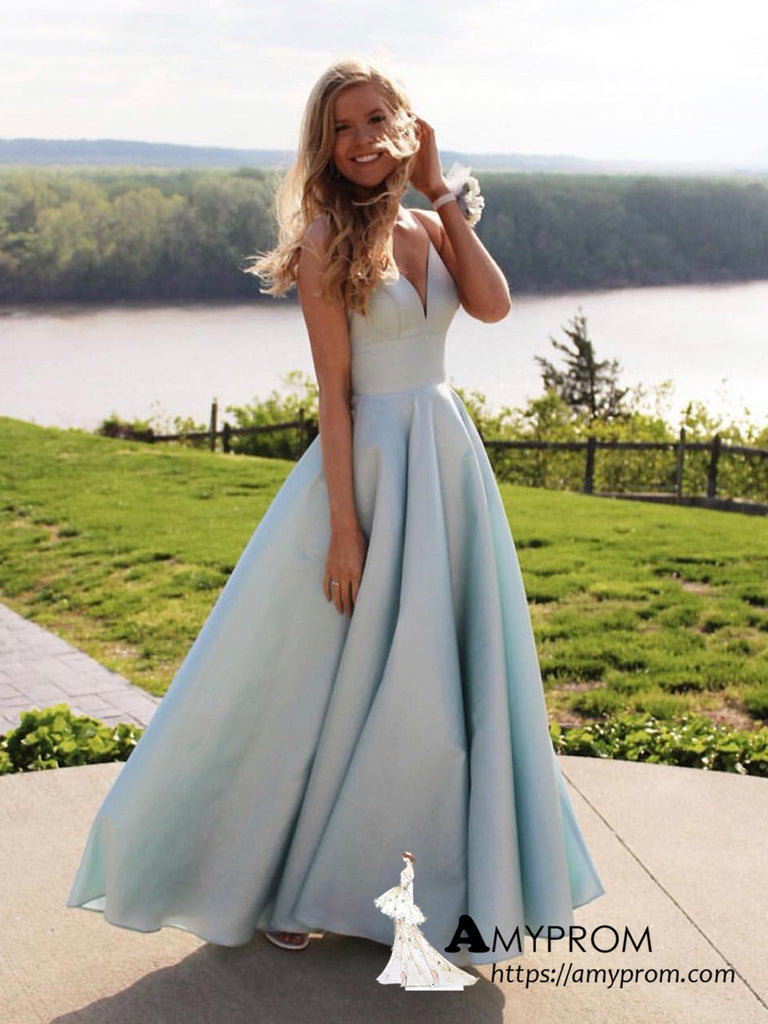 A-line Light Sky Blue Spaghetti Straps Simple Cheap Long Prom Dresses Unique Formal Dress Evening Gowns AMY3118