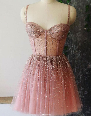 A-line Spaghetti Straps Short Prom Dresses Dusty Pink Beaded Homecoming Dress AMY3157
