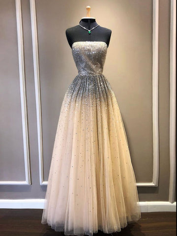 A-line Strapless Long Prom Dresses Sparkly Quinceanera Dress Formal Dresses WHK022