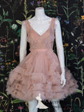 A-Line V neck Dusty Pink Juniors Homecoming Dress Short/Mini Prom Dresses AMY3132