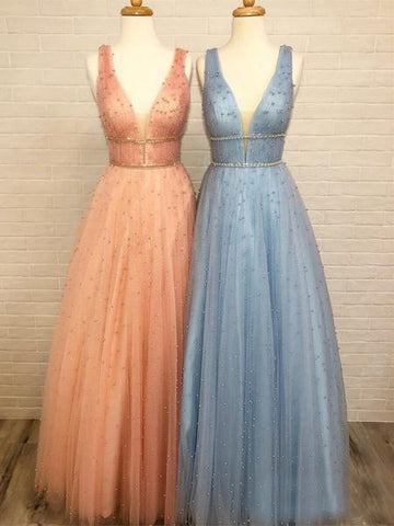 A-line V neck Prom Gowns With Beading Modest Evening Dresses AMY2377