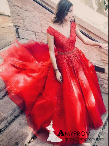 A-line V neck Red Long Prom Dress Applique Elegant Formal Gowns AMY3136