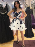 A-line Spaghetti Straps Black Short Prom Dress Lace Short Prom Dresses Homecoming Dress AMY1392