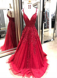 Chic A-line Prom Dress Spaghetti Straps Applique Red Prom Dresses Evening Dress AMY2024