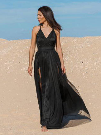 Black Spaghetti Straps Long Prom Dresses Cheap Simple Gorgeous Formal Dresses WHK015