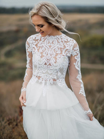 Boho Wedding Dress With Low V Back Bridal Lace Gown Separates Wedding Dress WEK009