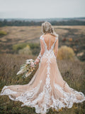 Boho Wedding Dress With Nude Underlay Tulle Lace Applique Wedding Dress Bridal Gown WEK007