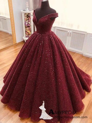 Burgundy Ball Gowns Off-the-shoulder Long Prom Dress Sparkly Gorgeous Formal Evening Gowns AMY3142