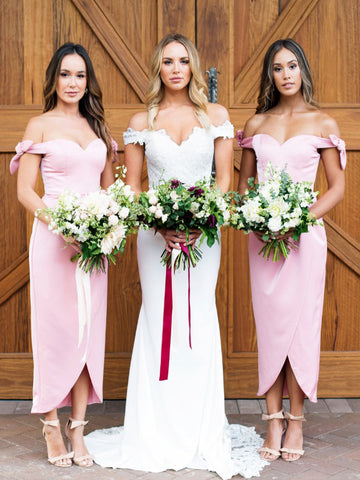 Cheap Simple Sheath/Column Off-the-shoulder Ankle-length Bridesmaid Dresses AMY2044