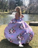 Chic A-line Strapless Printing Long Prom Dresses Elegant Formal Dress Lavender Evening Gowns AMY3116