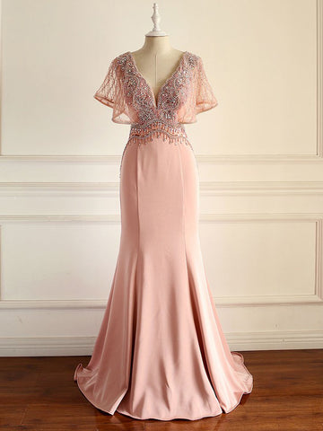 Chic V neck Mermaid  Long Prom Dress Pink Beaded Party Dress #AMY3270