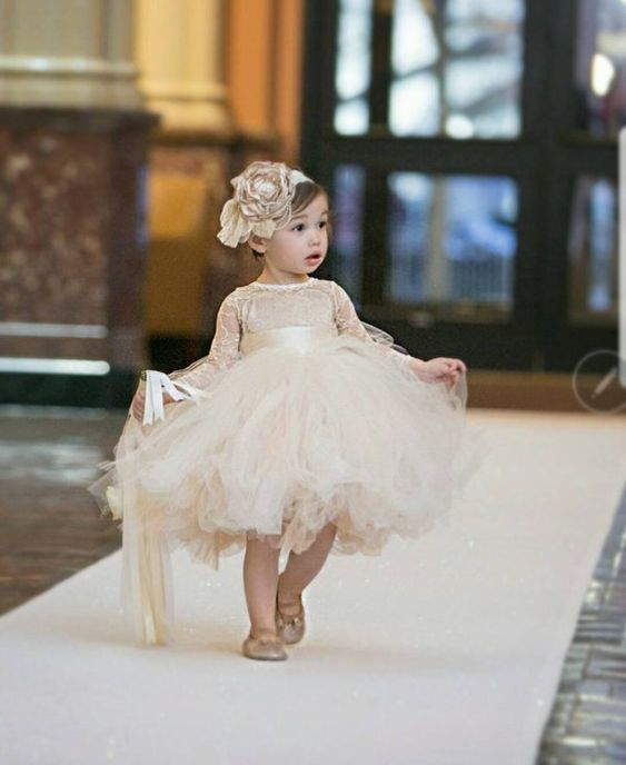 92ce6a89057 Cute Ball Gown Lace Knee-length Flower Girl Dresses With Long Sleeve ...