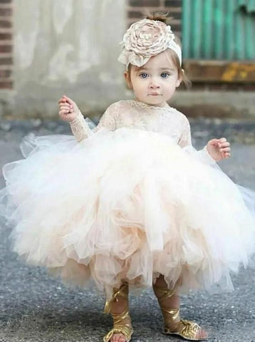Cute Ball Gown Lace Knee-length Flower Girl Dresses With Long Sleeve FL004