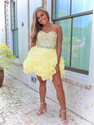 Daffodil Sweetheart Organza Short Prom Dresses Beaded Homecoming Dress WHK055