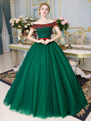 Dark Green Off-the-shoulder Prom Dresses Beaded Cheap Formal Gown Evening Dresses WHK007