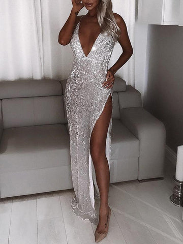 Deep V neck Silver Long Prom Dresses HIgh Split Sparkly Formal Dress African Prom Dresses WHK012