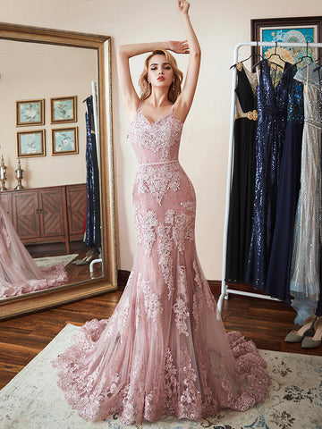 Dusty Pink Mermaid Spaghetti Straps Long Prom Dresses Lace Formal Gown Evening Dresses WHK012
