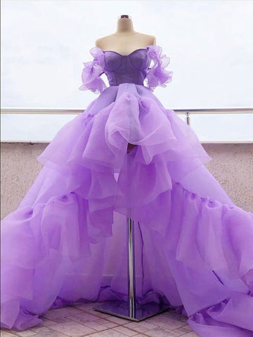 High Low Purple Long Prom Dresses Gorgeous Quinceanera Dress Formal Dresses WHK016