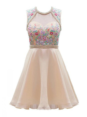 Champagne Homecoming Dress Scoop Short Juniors Homecoming DressesA-line Homecoming Dress Scoop Short Juniors Homecoming Dresses # kmy001