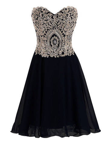 Black A-line Scoop Short Prom Dress Juniors Homecoming Dress kmy053