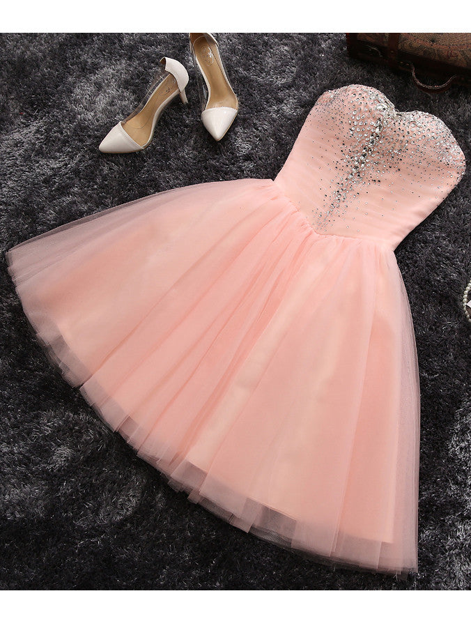 Pink A-line Sweetheart Short Prom Dress Juniors Homecoming Dress kmy057