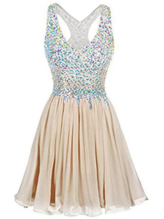 A-line Homecoming Dress V-Neck Short Chiffon Homecoming Dress # kmy069