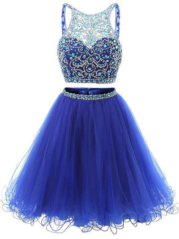 Charming Two Pieces A-line Straps Homecoming Dress Royal Blue Short Prom Drsess kmy217
