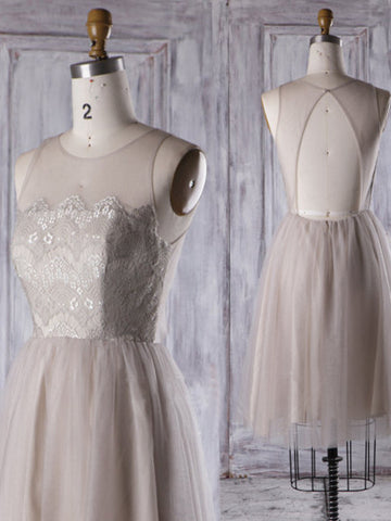 2017 A-line Scoop Short Tulle Prom Drsess Homecoming Dress kmy219