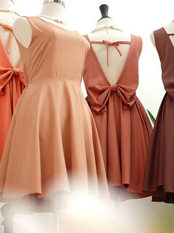 2017 A-line Scoop Short Bridesmaid Dresses Prom Gowns Dress kmy229