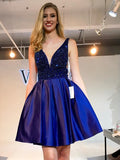 A-line Short Prom Drsess Royal Blue Homecoming Dresses kmy264