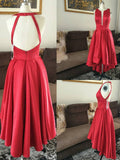 A-line Asymmetrical Prom Drsess Red Homecoming Dresses kmy270