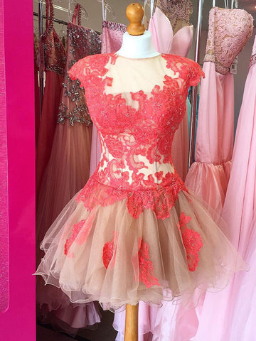 2017 A-line Short Prom Dress Tulle Juniors Homecoming Dress kmy370